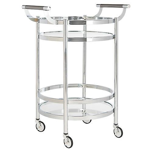 Carrey Bar Cart, Chrome