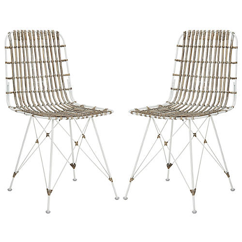 Rae Whitewash Wicker Side Chairs, Pair