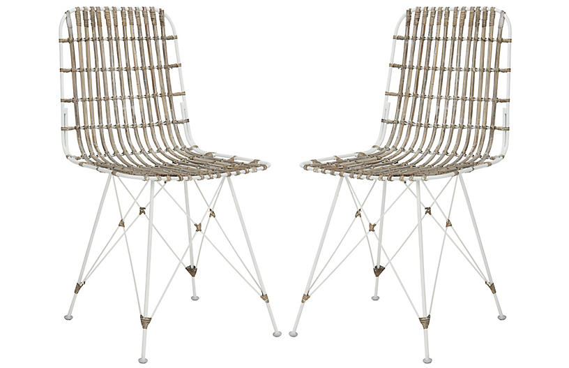 Rae Whitewash Wicker Side Chairs, Pair
