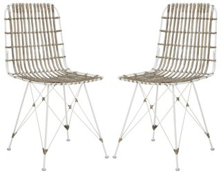 Rae Whitewash Wicker Side Chairs, Pair   Dining Chair Sets   Dining Chairs    Dining Room   Furniture | One Kings Lane
