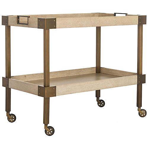 Adalia Bar Cart, Natural/Brass