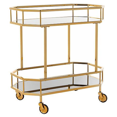 Cava Bar Cart, Brass