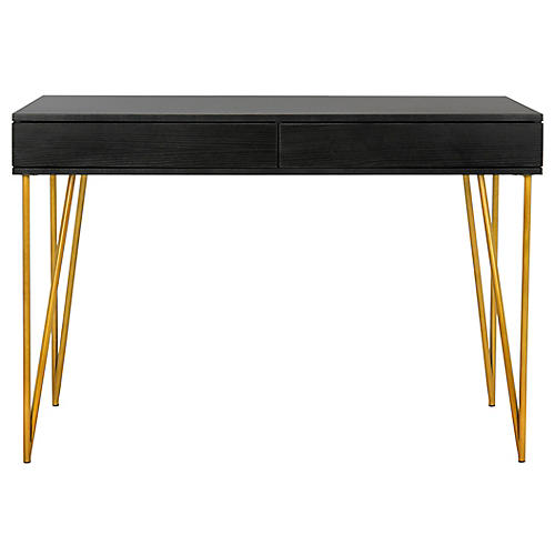 Pine Desk, Black/Gold