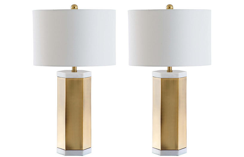 S/2 Scola Table Lamps, Gold/White