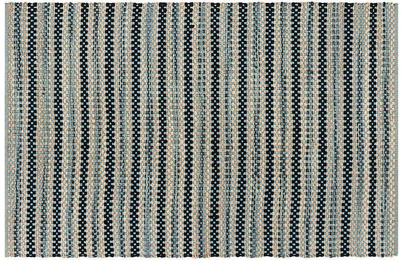 Ozit Jute-Blend Rug, Blue/Black