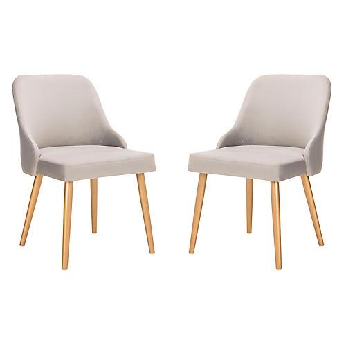 S/2 Andover Side Chairs, Gray Velvet