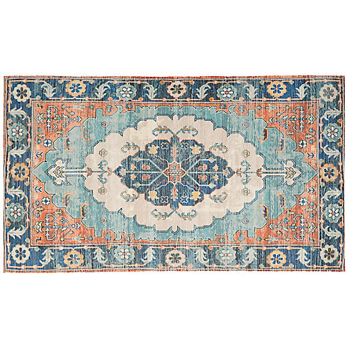 Chatwin Rug, Blue/Coral