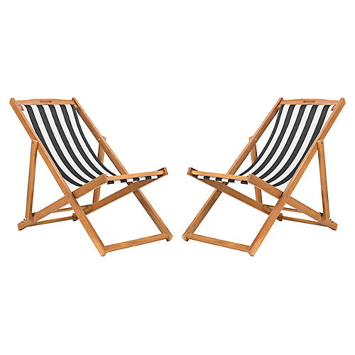 S/2 Tisch Sling Chairs, Black/White
