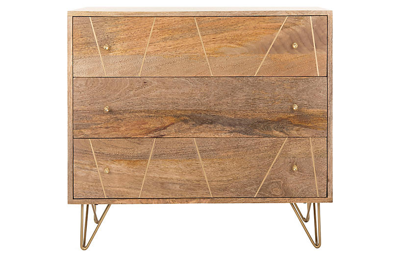 Epner Nightstand, Natural/Brass