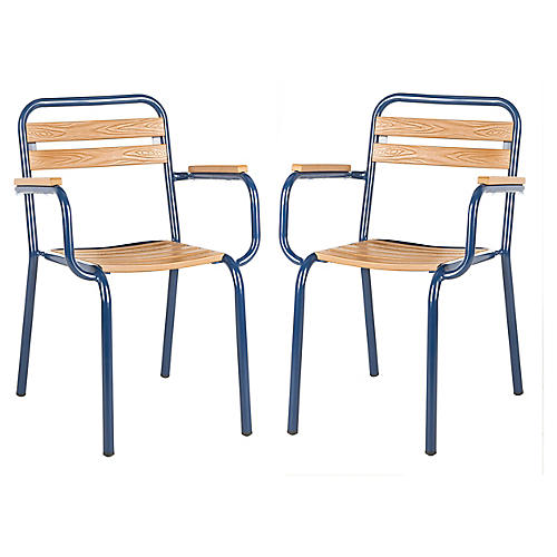 S/2 Rayton Stackable Chairs, Navy/Natural