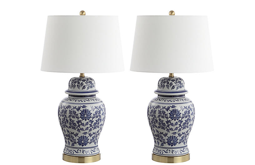 S/2 Louise Table Lamps, Blue/White