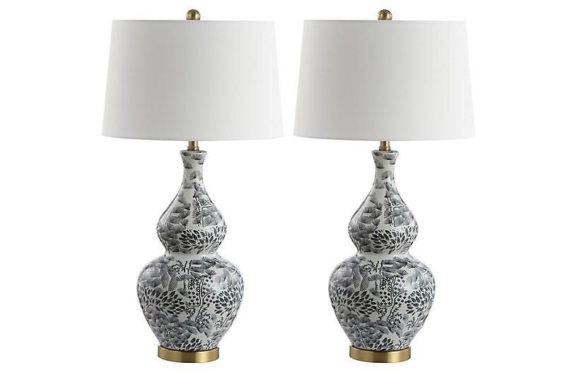 S/2 Gwyneth Table Lamps, Black/White