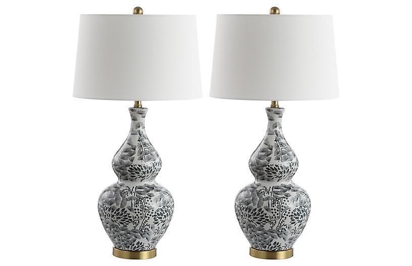 S/2 Gwyneth Table Lamps, Black/White