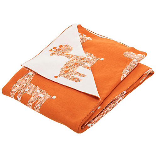 Giraffe Baby Blanket, Orange/Natural