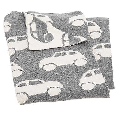 Car Baby Blanket, Gray/White