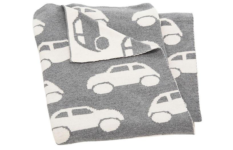 Car Baby Blanket, Gray/White