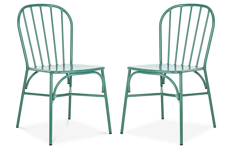 S/2 Everleigh Outdoor Side Chairs, Green