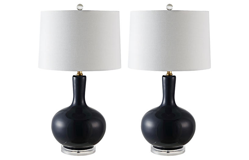 S/2 Lily Table Lamps, Navy