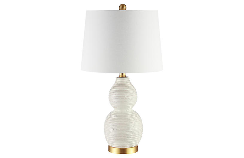 Charlotte Double Gourd Table Lamp, White