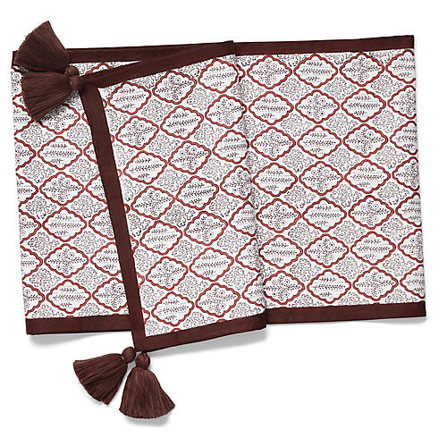 Trellis Table Runner w/Tassels, Rosewood