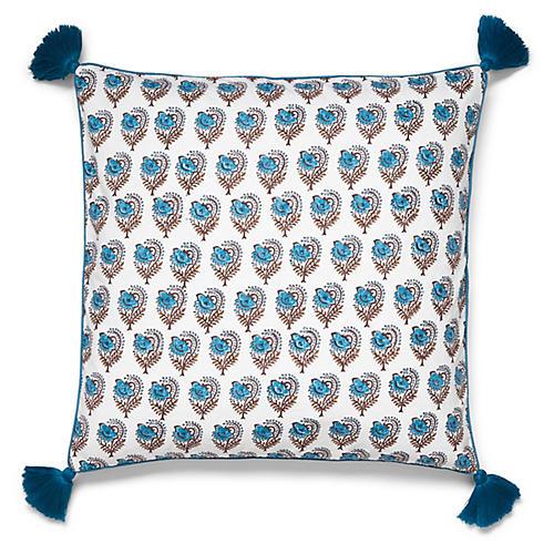 Ketaki 22x22 Tassel Pillow, Sky