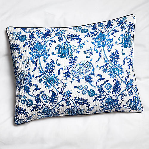 S/2 Amanda Quilted Shams, Blue