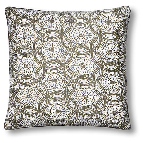 Paterre 22x22 Quilted Pillow, Gray
