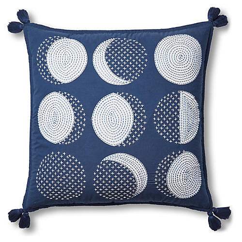Ebbe Appliqué Pillow Cover, Slate