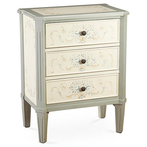 Alyssa 3-Drawer Nightstand, Ivory/White
