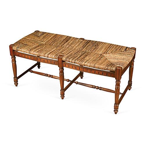 "Betsy 51"" Woven Bench, Walnut/Jute"