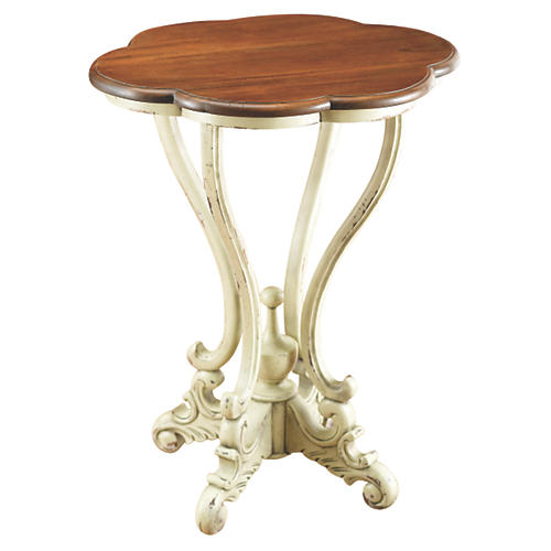 Ana Scalloped Side Table, Walnut