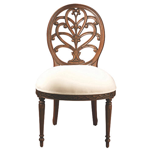 Adelaide Side Chair, Ivory/Walnut