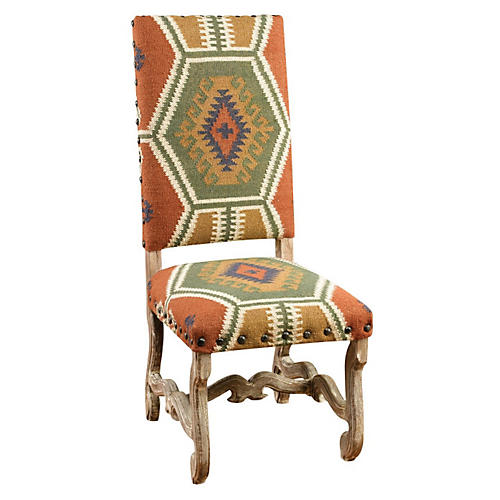 Daphne Kilim Side Chair, Rust/Multi