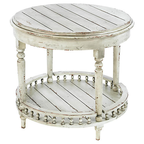 Emma 2-Shelf Side Table, Antiqued White