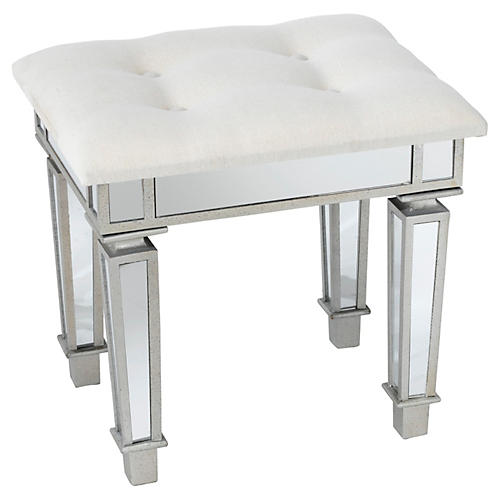 Alexandria Mirrored Stool, Silver