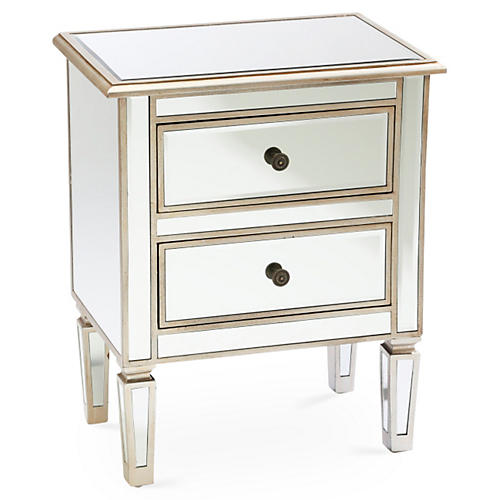 Damon 2-Drawer Nightstand, Mirrored