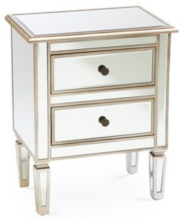 Damon 2 Drawer Nightstand Mirrored Nightstands Bedroom