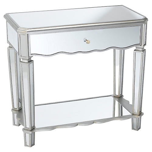 Carrie 1-Drawer Console, Mirrored
