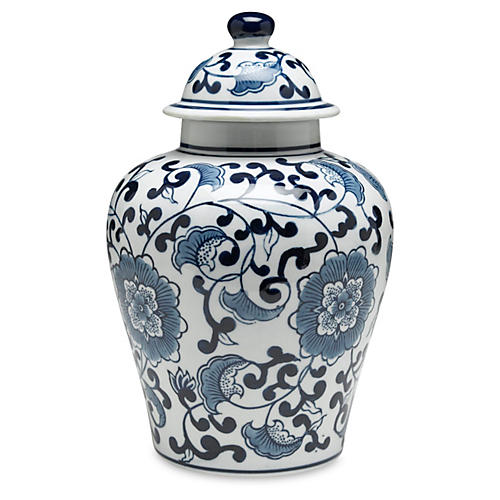 "10"" Royal Ginger Jar, Blue/White"