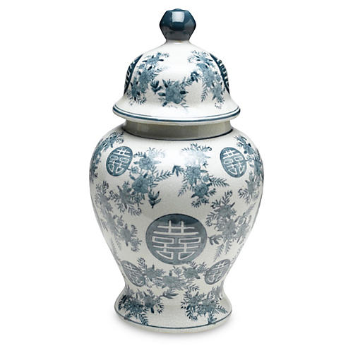 "14"" Bazille Ginger Jar, Blue/White"