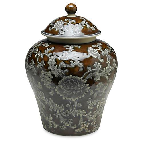 """14"""" Florent Ginger Jar, Brown/Gray"""
