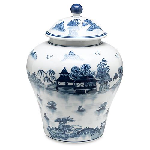 """14"""" Lavieille Ginger Jar, Blue/White"""