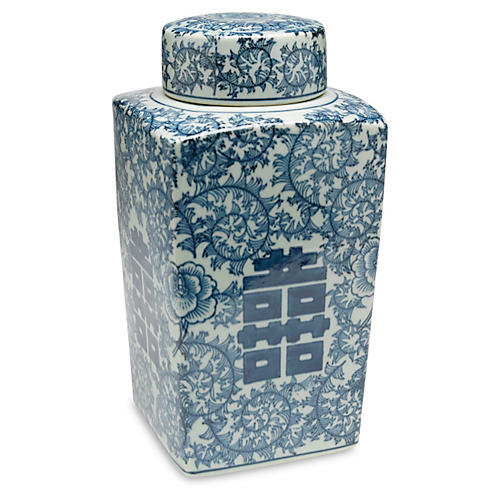 "12"" Jolie Square Jar, Blue/White"