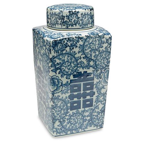 "12"" Jolie Square Jar, Blue/White"