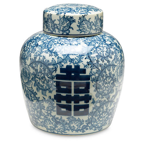 "9"" Jolie Jar, Blue/White"