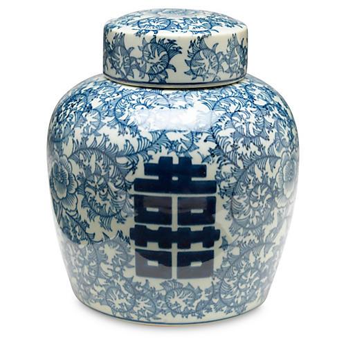 """9"""" Jolie Jar, Blue/White"""