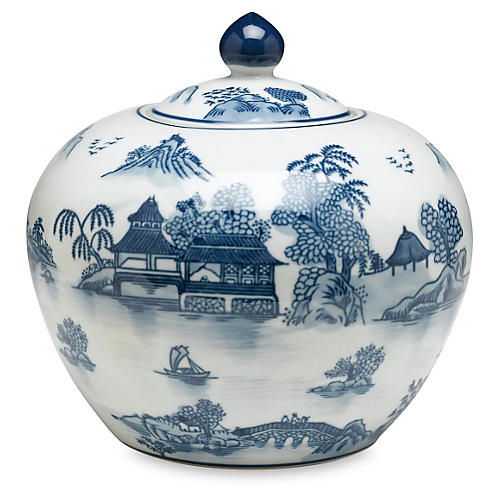 "8"" Lavieille Round Jar, Blue/White"
