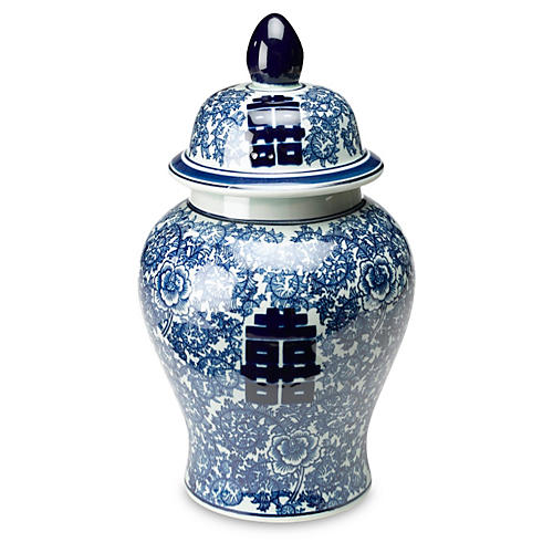 "18"" Jolie Ginger Jar, Blue/White"