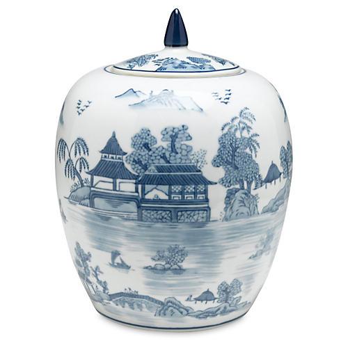 "10"" Willow Jar, Blue/White"