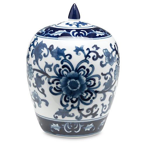 """8"""" Decamps Floral Jar, Blue/White"""